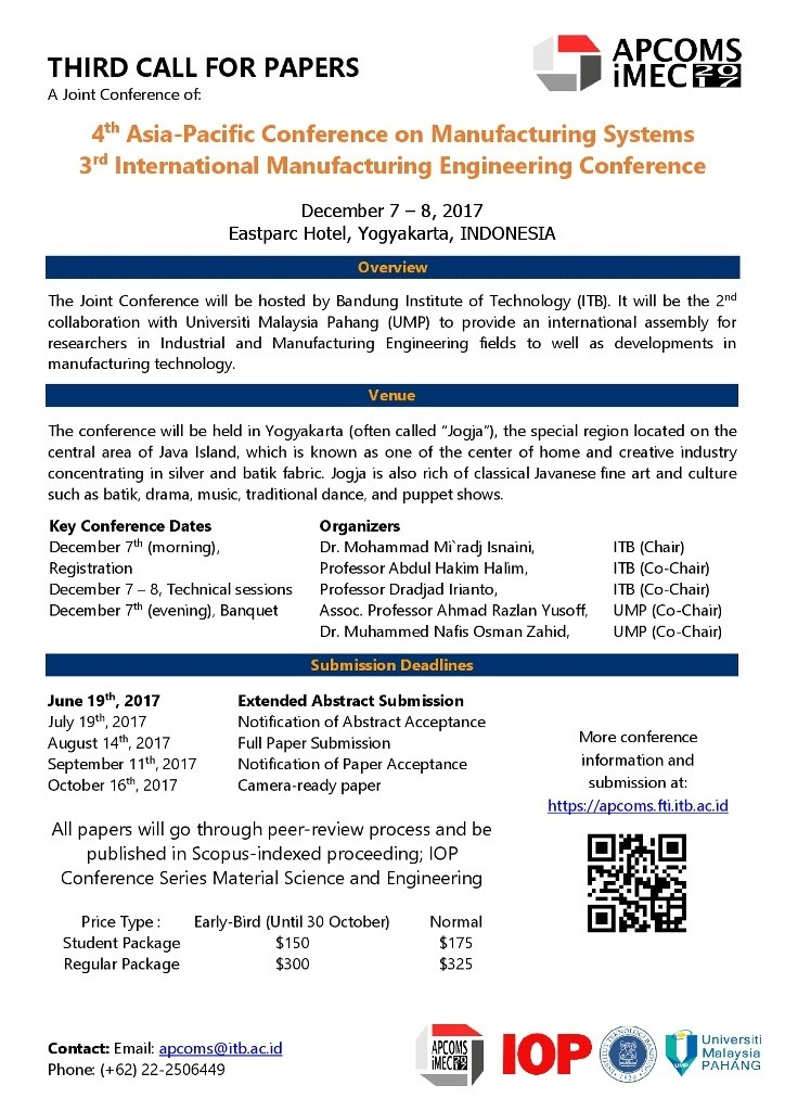 4 th Asia-Pasific Conference on manufakturing Systems and 3 rd International Manufacturing engineering conference